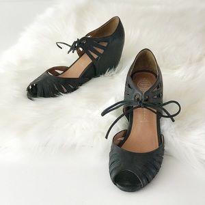 Jeffrey Campbell Black Wedge Heels Shoes Retro 7.5